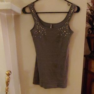 Charlotte Russel army green tank ribbed embellishe